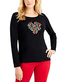 Petite Holiday Graphic Long Sleeve Top, Created for Macy's