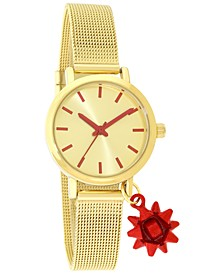 Women's Bow Charm Gold-Tone Mesh Bracelet Watch 30mm, Created for Macy's