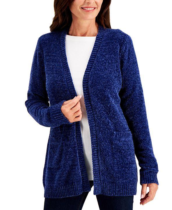 Karen Scott Solid Chenille Pocket-Front Sweater, Created for Macy's