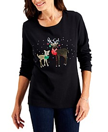 Graphic Print Christmas Top, Created for Macy's