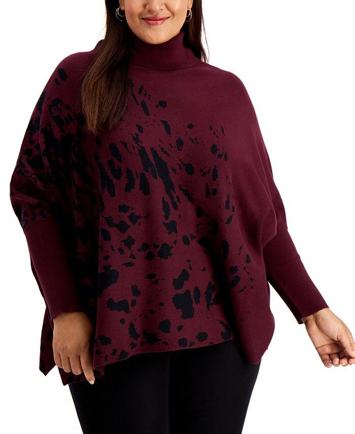 Alfani - Plus Size Printed Drop-Shoulder Sweater