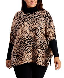 Plus Size Animal-Print Poncho Sweater, Created for Macy's