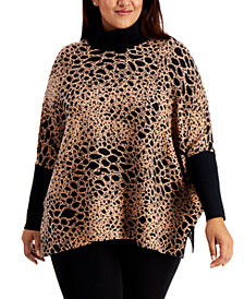 Alfani Plus Size Animal-Print Poncho Sweater, Created for Macy's