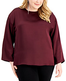 Alfani Plus Size Side-Slit Top, Created for Macy's