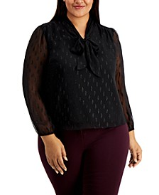 Plus Size Tie-Neck Textured Top, Created for Macy's