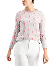Petite Printed Jacquard Button-Shoulder Sweater, Created for Macy's