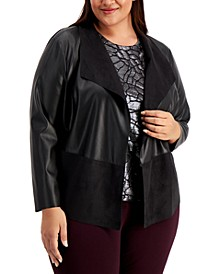 Plus Size Mixed-Media Jacket, Created for Macy's
