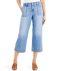 High-Rise Cropped Wide-Leg Jeans, Created for Macy's