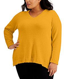 Karen Scott Plus Chenille V-Neck Sweater, Created for Macy's