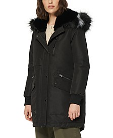 Carina Faux-Fur-Trim Hooded Parka Coat