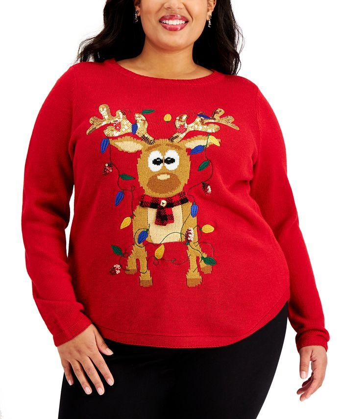 Karen Scott - Plus Size Sequin-Embellished Reindeer Sweater
