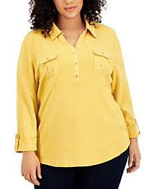 Plus Size Solid V-Neck Woven Top, Created for Macy's