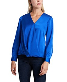 Women's Long Sleeve Wrap Front Blouse