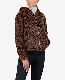 Junior's Reversible Leopard Faux Fur Hooded Bomber