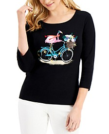 Petite Embroidered Holiday Graphic 3/4-Sleeve Top, Created for Macy's