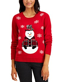Sequin-Embellished Snowman Sweater, Created for Macy's