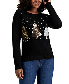 Sequin-Embellished Christmas Tree Sweater