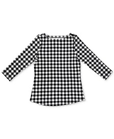 Petite Cotton Gingham-Print Button-Trim Top, Created for Macy's