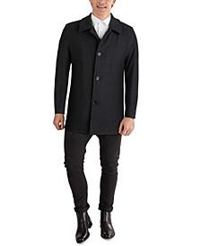 Men's Classic-Fit Car Coat with Faux-Leather Trim