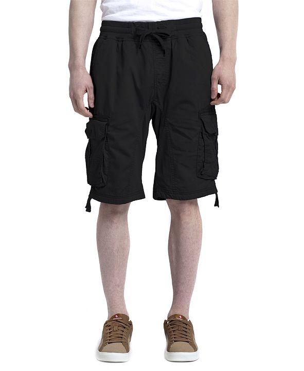 Southpole Men's Fine Twill Jogger Shorts with Cargo Pockets