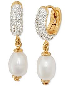 Gold-Tone Imitation Pearl Charm Pavé Hoop Earrings