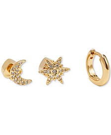 Gold-Tone 3-Pc. Set Pavé Cosmic Mismatch Earrings