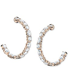 Rose Gold-Tone Medium Multi-Crystal C-Hoop Earrings, 1.5""