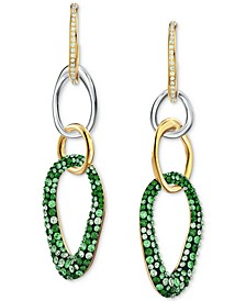 Two-Tone Crystal Oval Charm Drop Earrings