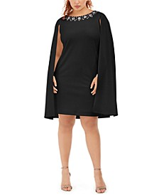 Plus Size Rhinestone-Embellished Cape Dress