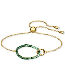 Gold-Tone Pavé Oval Slider Bracelet