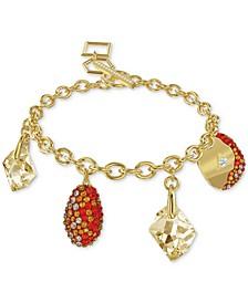 Gold-Tone Crystal Charm Link Bracelet