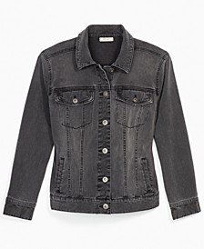 Black Denim Trucker Jacket, Created for Macy's