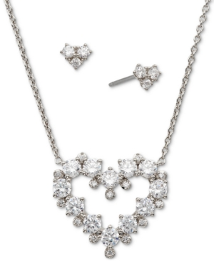 Gold-Tone 2-Pc. Set Cubic Zirconia Heart Pendant Necklace & Matching Stud Earrings