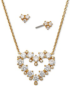 Gold-Tone 2-Pc. Set Cubic Zirconia Heart Pendant Necklace & Matching Stud Earrings, Created for Macy's