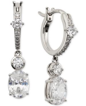 Cubic Zirconia Charm Hoop Earrings