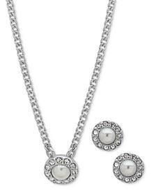 Stone & Crystal Halo Pendant Necklace & Stud Earrings Set