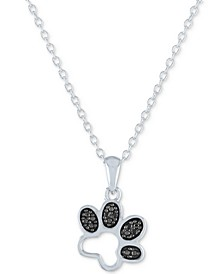 """Black Diamond Accent Paw Print Pendant Necklace in Sterling Silver, 16"""" + 2"""" extender"""