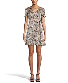 Printed Ruffled Faux-Wrap Dress, Created for Macy's