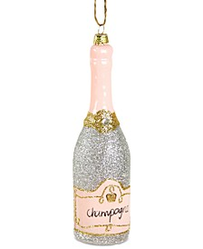 Glittered Champagne Ornament