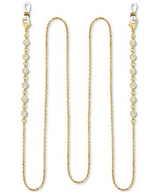 """Cubic Zirconia Cable Link 25"""" Glasses or Face Mask Chain in Fine Silver or Gold Plate"""
