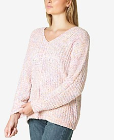 Juniors' Marled Chenille V-Neck Sweater