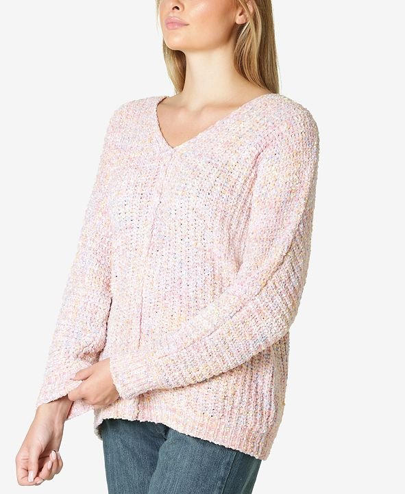 Ultra Flirt Juniors' Marled Chenille V-Neck Sweater