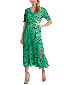Polka-Dot Tie-Waist Midi Dress