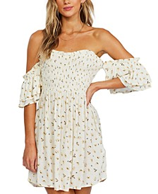 Juniors' Dancing Sun Off-The-Shoulder Dress