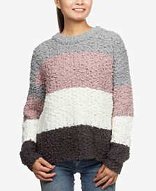 Juniors' Colorblock Plush Pullover Sweater
