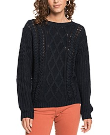 Juniors' England Skies Cable-Knit Sweater