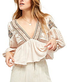 Free People Aria Embroidered Top