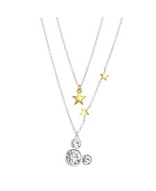 Two-Tone Mickey Mouse Stars Layer Pendant Necklace in Fine Silver Plate