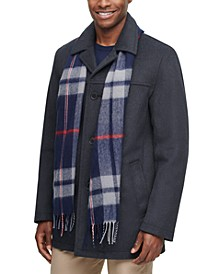 Men's Walking Coat with Removable Plaid Scarf