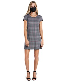 Printed Shift Dress & Face Mask Necklace
